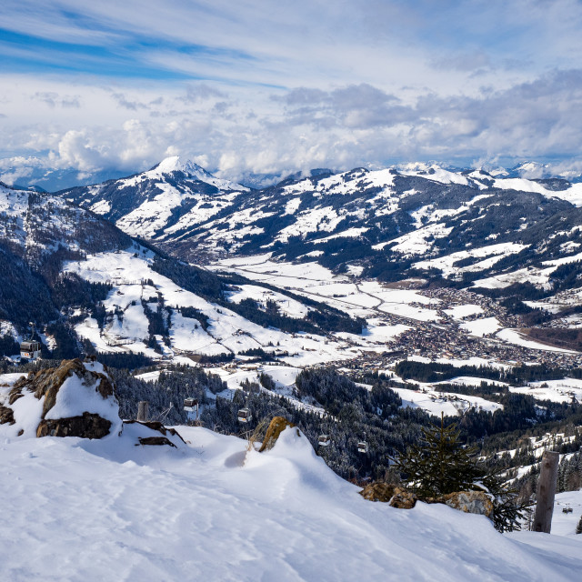 """A Snowy View From Fleckalm"" stock image"