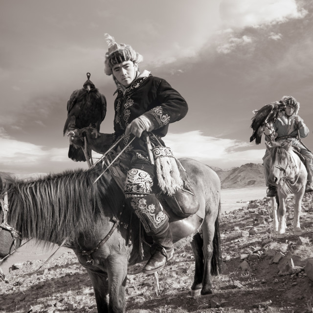 """Mongolian Eagle Hunters in Infrared"" stock image"
