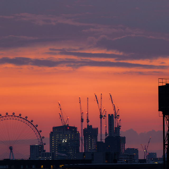 """London Cityscape at twilight I"" stock image"