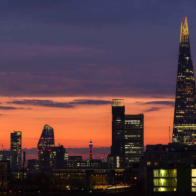 """London Cityscape at twilight III"" stock image"