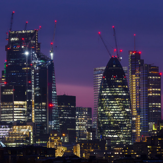 """London Cityscape at twilight II"" stock image"