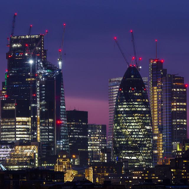 """London Cityscape at twilight II"" stock image"