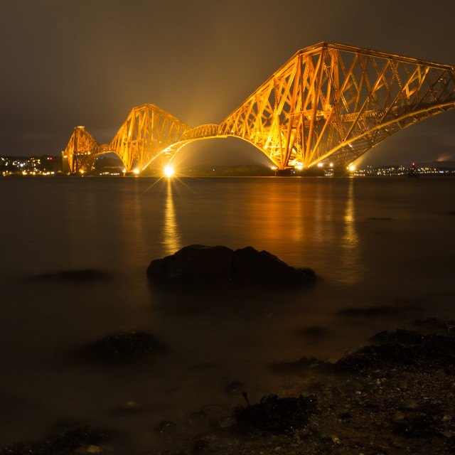"""Forth Rail bridge, Queensferry, night shot"" stock image"