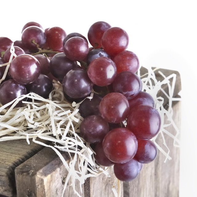 """""""grapes on a wooden crate"""" stock image"""
