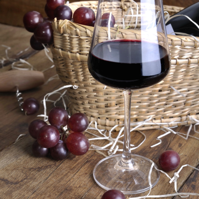 """""""wine of glass for tasting on rustic background"""" stock image"""