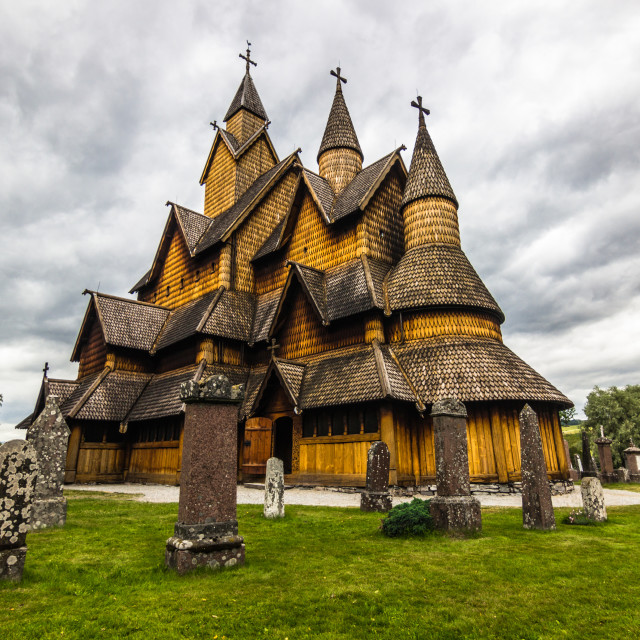 """""""July 18, 2015: The Stave Church of Heddal, Norway"""" stock image"""