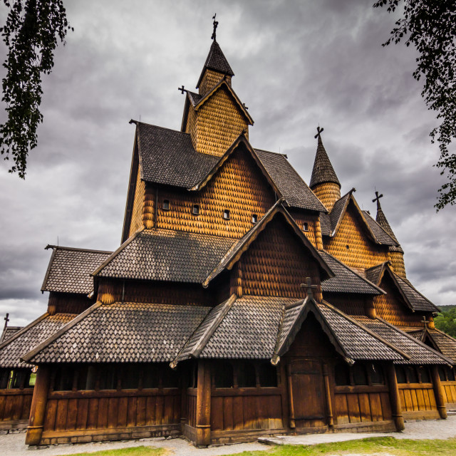"""""""July 18, 2015: Sideview of the Stave Church of Heddal, Norway"""" stock image"""