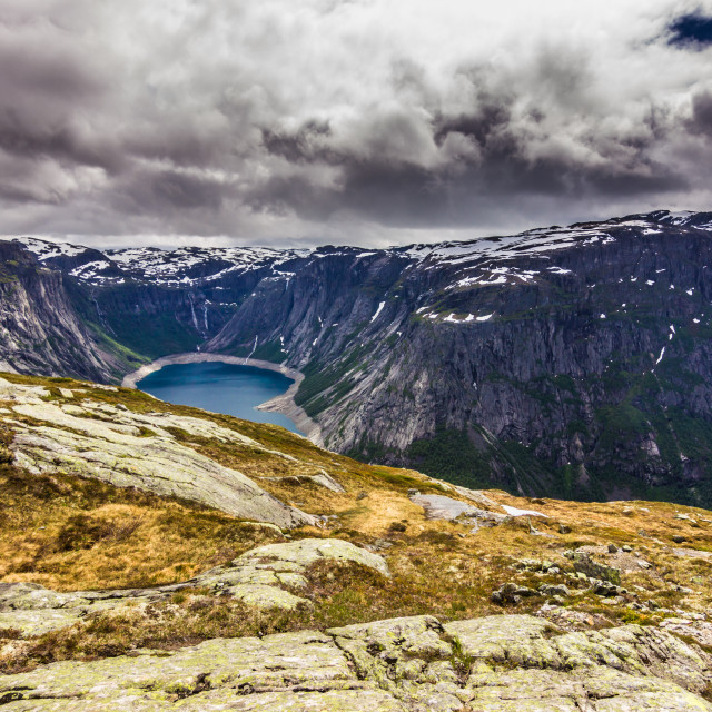 """July 22, 2015: Lake on the way to Trolltunga, Norway"" stock image"