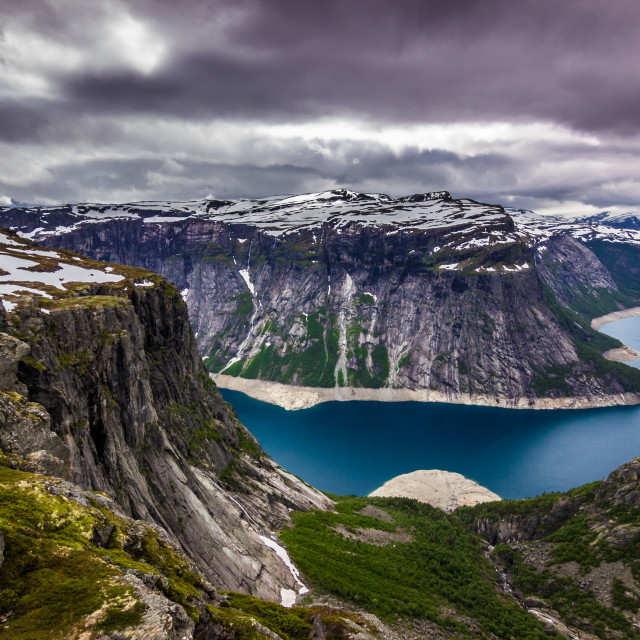 """July 22, 2015: Panoramic view of a fjord on the way to Trolltung"" stock image"