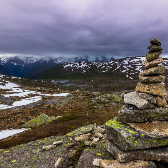 """July 22, 2015: Hiking path to Trolltunga, Norway"" stock image"