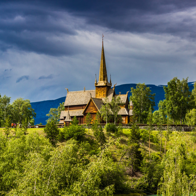 """July 24, 2015: Stave church of Lom in the town of Lom, Norway"" stock image"