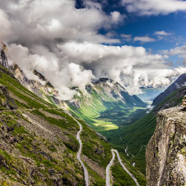 """July 25, 2015: A rock marker at the top of Trollstigen, Norway"" stock image"