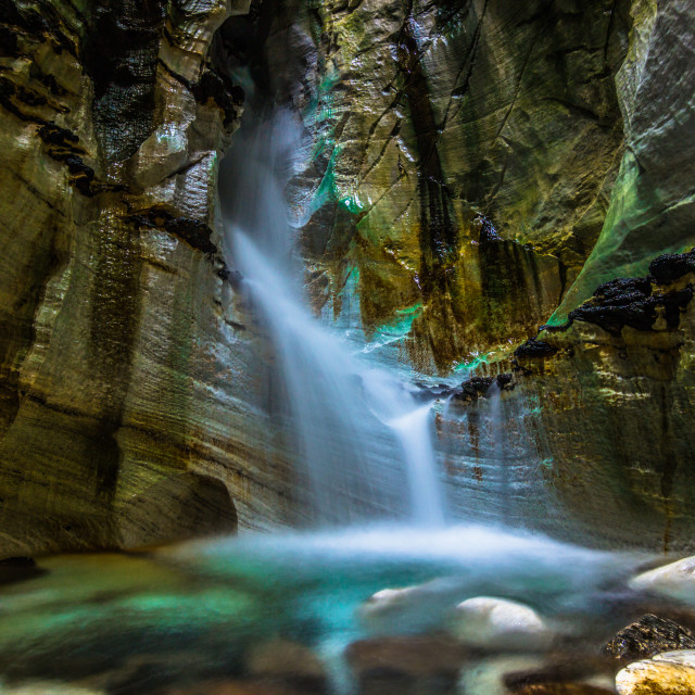 """July 26, 2015: Waterfall inside the Troll church cave, Norway"" stock image"