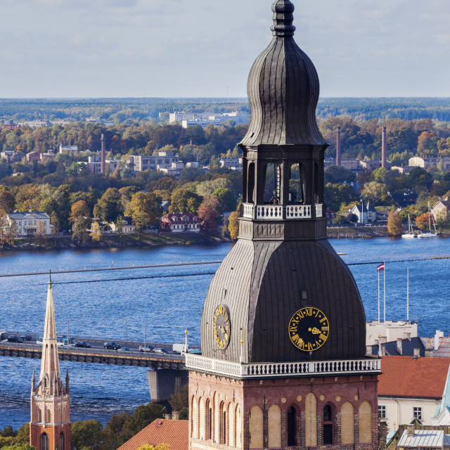 """""""Riga Cathedral at city panorama"""" stock image"""