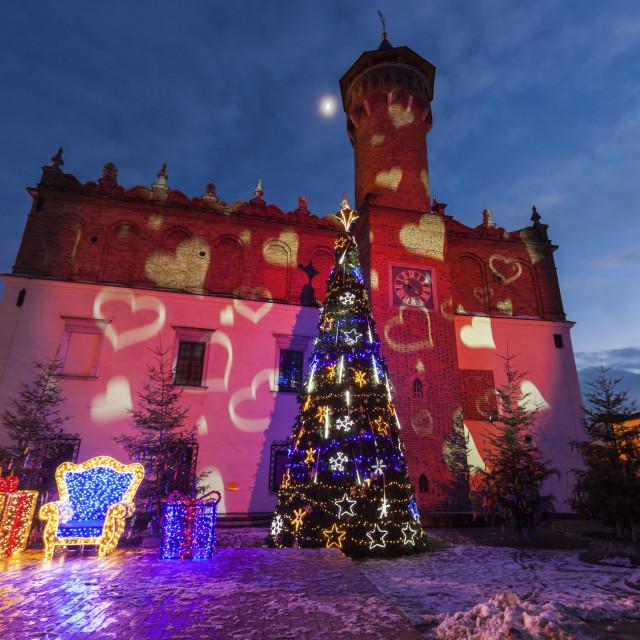 """City Hall of Tarnow at night"" stock image"