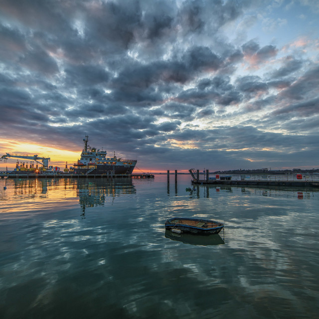 """Sunset at Ha Penny Pier in Harwich"" stock image"