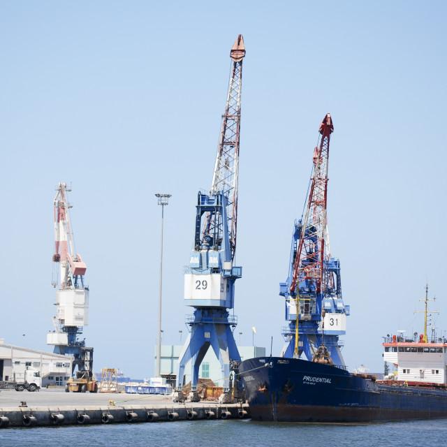 """Port of Haifa Harbour Crane"" stock image"