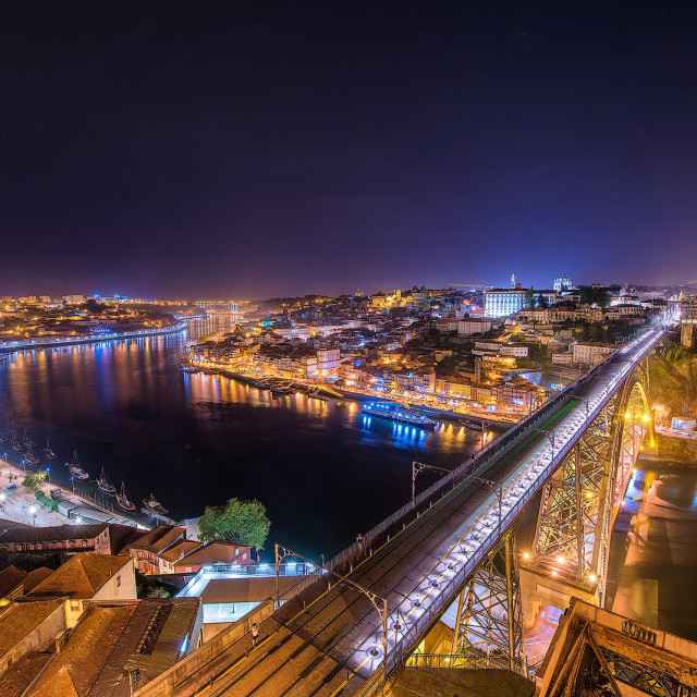 """Nightscape in Porto, Portugal."" stock image"