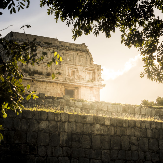 """Maya ruin complex of Uxmal in Puuc route in Yucatan Mexico"" stock image"