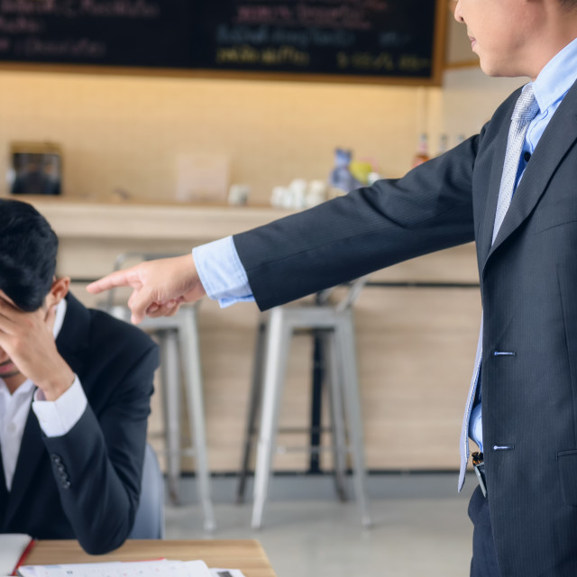 """""""Angry boss complain young businessman"""" stock image"""