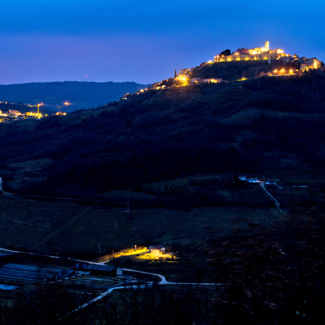 """Town of Motovun on Istrian hill dawn view"" stock image"