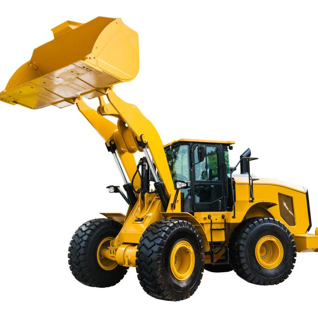 """Loader or Bulldozer excavator, isolated on white background with"" stock image"