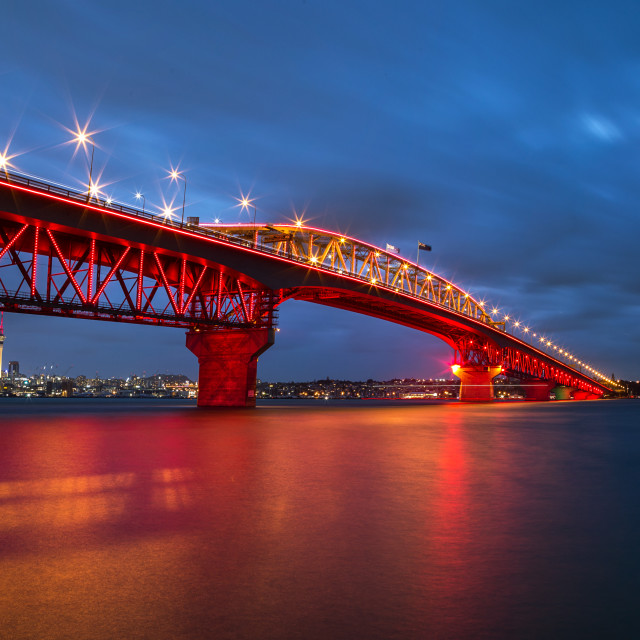 """Auckland Harbor bridge, New Zealand"" stock image"