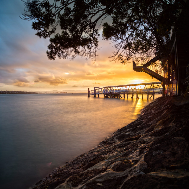"""Dusk at Northcorte wharf Auckland"" stock image"