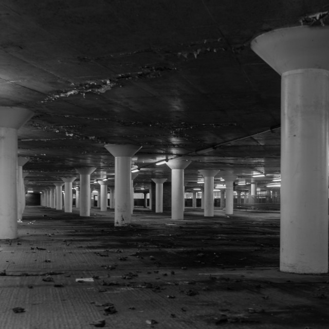 """""""Indoor Car Park at Night"""" stock image"""