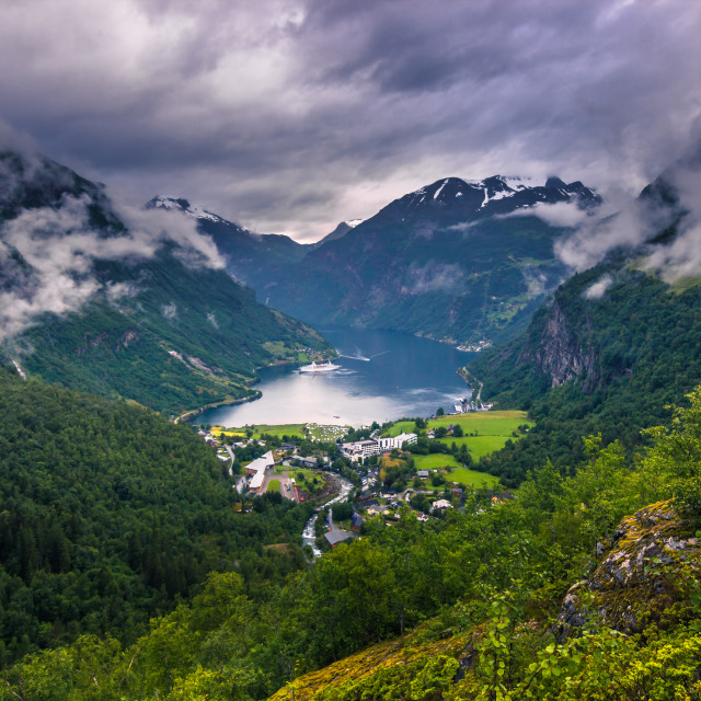 """""""July 24, 2015: The Geirangerfjord, world heritage site, Norway"""" stock image"""