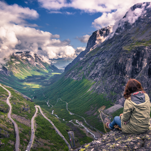 """July 25, 2015: Traveller at the Trollstigen road, Norway"" stock image"