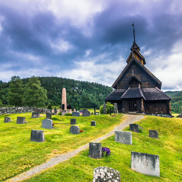 """July 18, 2015: Eidsborg Stave Church, Norway"" stock image"