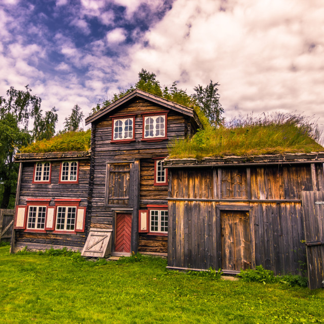 """""""July 29, 2015: Traditional Norwegian rural houses in the Open air museum of..."""" stock image"""