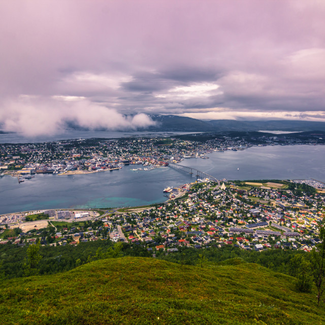 """""""July 31, 2015: View of Tromso at the top of mount Storsteinen, Norway"""" stock image"""