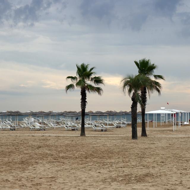 """morning on the beach Rimini summer season"" stock image"