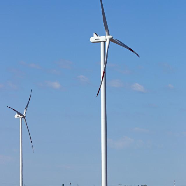 """wind turbines on wheat field"" stock image"