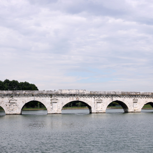 """""""old Tiberius bridge Rimini Italy"""" stock image"""