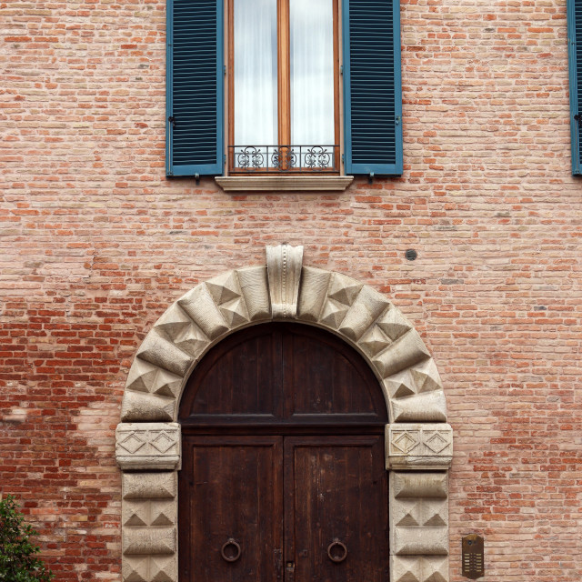 """""""old house door and window detail Rimini Italy"""" stock image"""