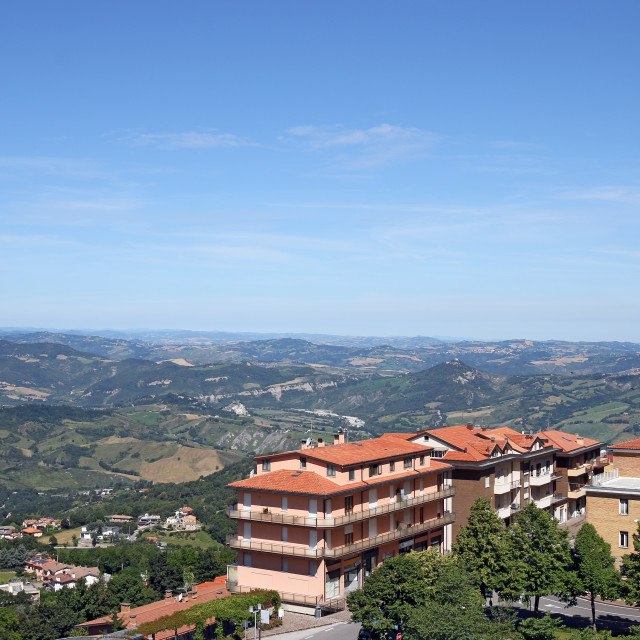 """""""buildings and hills San Marino landscape"""" stock image"""