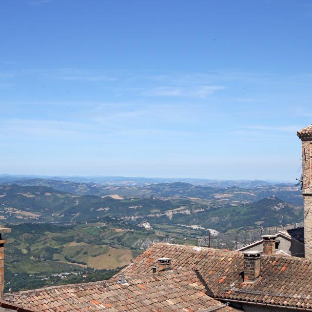 """old church tower San Marino Italy"" stock image"