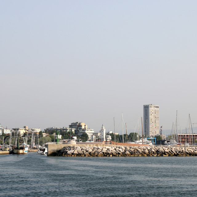 """panoramic wheel and port Rimini cityscape"" stock image"