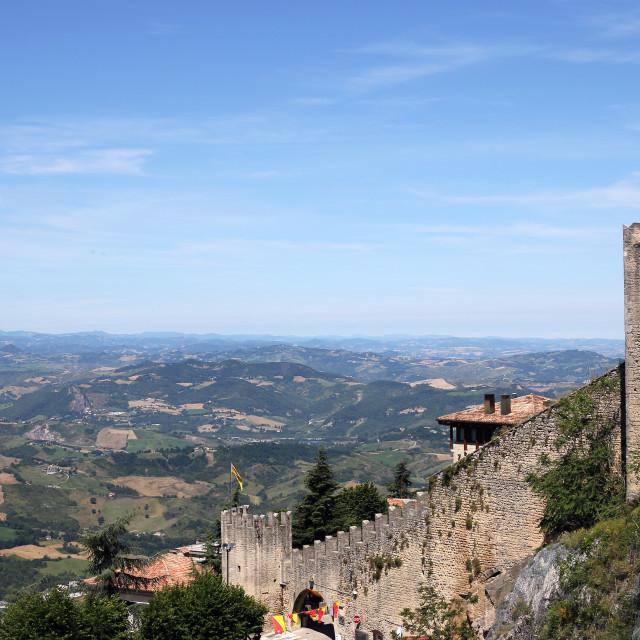 """San Marino fortress walls landscape"" stock image"