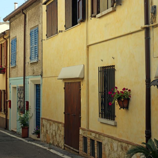 """old houses street Rimini Italy"" stock image"