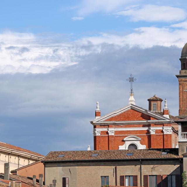 """church and buildings Rimini Italy"" stock image"