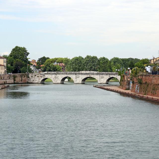 """old stone Tiberius bridge Rimini Italy"" stock image"