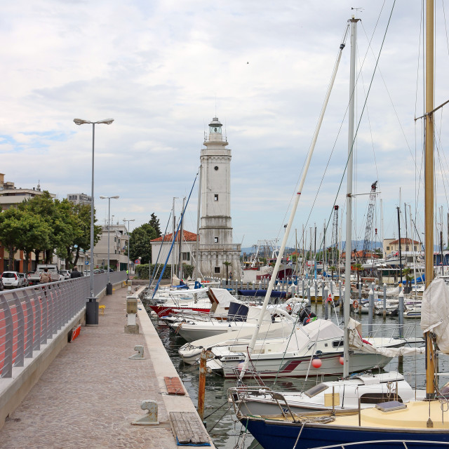 """""""Rimini port with lighthouse and boats"""" stock image"""