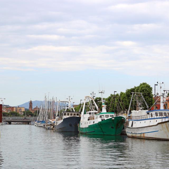 """port with fishing boats Rimini Italy"" stock image"