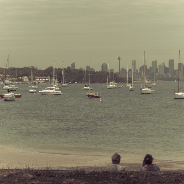 """Watsons Bay view of Sydney Harbour and Sydney central business district, New South Wales, Australia"" stock image"