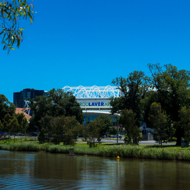 """Rod Laver Arena in Melbourne Park from south bank of the Yarra River, Melbourne, Victoria, Australia. The Rod Laver Arena is a multi-purpose sporting and entertainment arena which is the main venue for the Australian Open grand slam tennis championships w"" stock image"