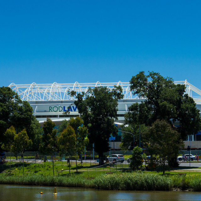 """View of Rod Laver Arena from south bank of the Yarra River, Melb"" stock image"